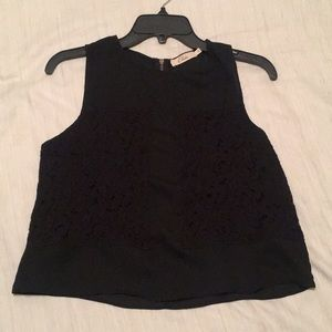 Beautiful black sheer top with lace detail